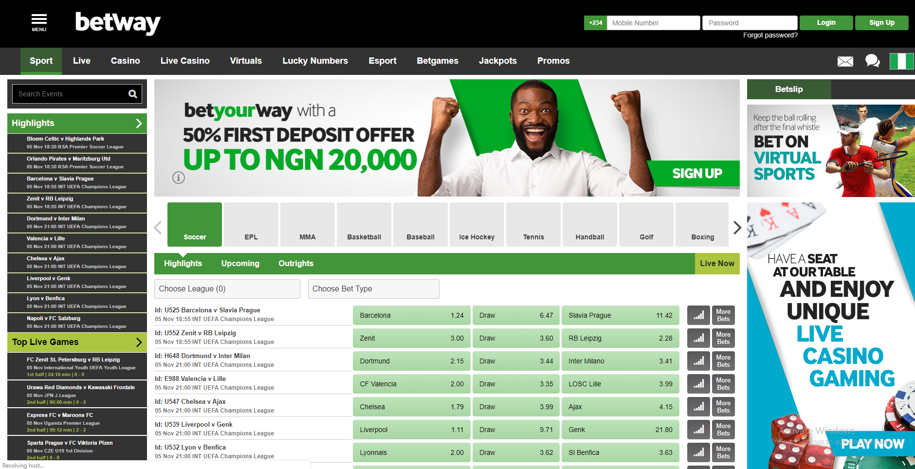 Betway Nigeria Sports Betting Review <br> An Impressive Variety of Sports